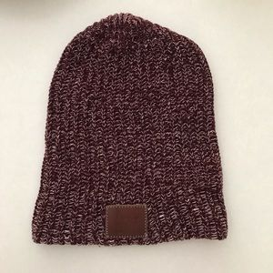 Maroon and white Speckled Love Your Melon beanie